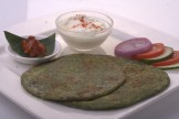 Palak Paratha stuffed with Paneer and cheese